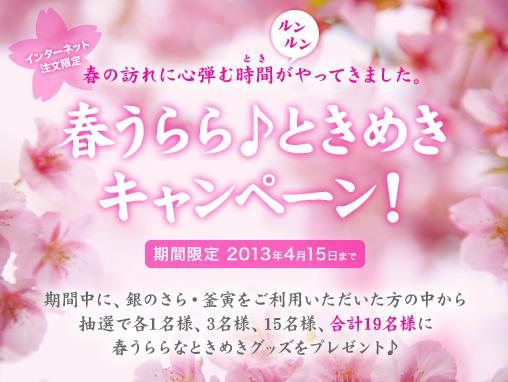 銀のさら・釜寅公式HP限定企画 「銀のさら・釜寅 春うらら♪ときめきキャンペーン!」3月1日より開始!